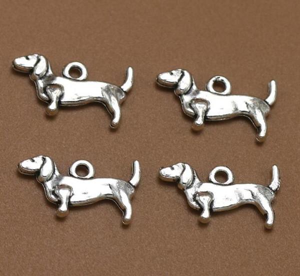 Mini Teckel Charme Antique Argent Animal Pendentifs Pour À La Main DIY Bracelet Collier De Mode Bijoux En Alliage Faire Des Cadeaux Accessoires 100 PCS