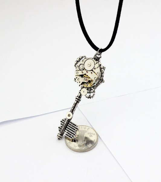 Original handgefertigte Steampunk Schmuck mechanische Bewegung Uhrenkern offene Weisheit Tür Schlüssel Männer und Frauen Halskette Leder Seil Verteidigung