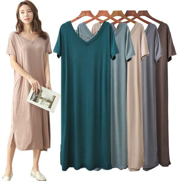 Big-size short-sleeved dress, women's fat mm, new Modal loose open skirt, sexy double V-neck long skirt