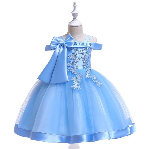 Children's New word shoulder strap dress girl bow beaded flower wedding dress flower girl princess dress