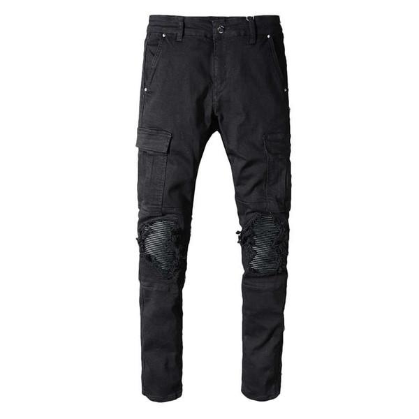 Fashion Streetwear Men Jeans Black Color High Quality Big Pocket Denim Cargo Pants Patchwork Ripped Jeans For Men Hip Hop Robin Jeans 29-42