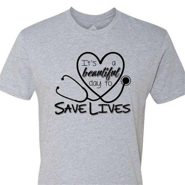 C'est un pour sauver des vies Beautiful Day T-shirt Gray Anatomy infirmière Docteur coeur d'été de style T-shirt Casual Wear