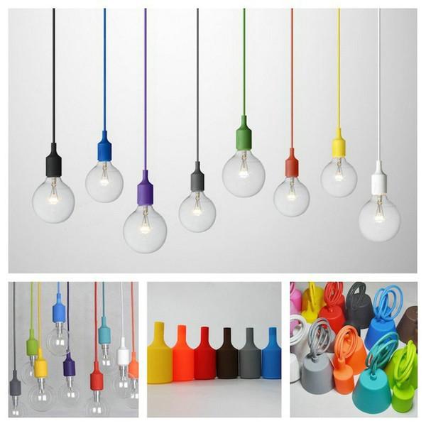 Coloré Edison Moderne Pendentif Lumières Vintage Silicone Ampoule Socket Suspension Lumière E27 Drop Lighting Creative Porte-Lampe DIY