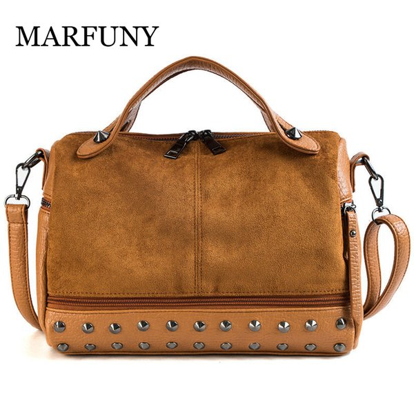 2019 Fashion YASICAIDI High Quality Scrub Leather Women Messenger Bags Retro Rivet Women Handbags Large Capacity Shoulder Bags Black Handbag
