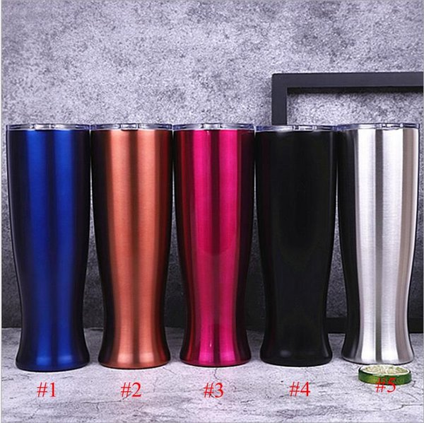 Straight cup tainle teel beer mug double layer travel va e tumbler portable originality vacuum coffee cup with clear lid 20oz tl1471