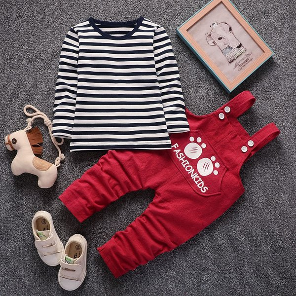 2PCS Newborn Baby Boys Striped Shirt +suspender Pants Gentleman Cotton baby clothing Sets Summer Toddler Infant Boy School Set