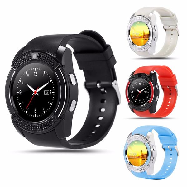 Montre-bracelet à écran tactile Bluetooth Smartwatch de V8 SmartWatch avec appareil photo / carte intelligente Carte intelligente Montre intelligente pour système Android avec boîte