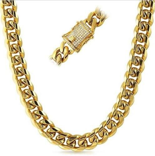 14mm Iced Clasp Mens 18K Gold Plated Premium Cuban Chain