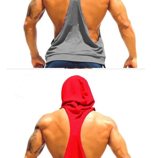 Felpa con cappuccio in cotone da uomo Felpe abbigliamento fitness movimento bodybuilding uomo Senza maniche movimento Tees Shirt Casual gilet fitness oro # 311967