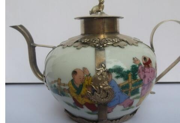 Crafts Arts 2pcs Chinese Tibetan silver teapot ceramic flagon shipping Vintage Garden 100% Tibetan silver Bronze