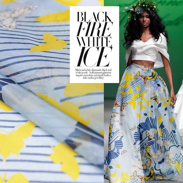 Mariposa vintage Impreso 100% Tela de Organza de Seda para Mujeres Vestido 140 cm Ancho 10 Momme Strepe Tela para Diy Costura Verano Nuevo