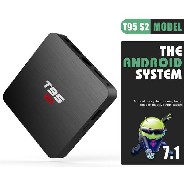 1pcs T1 Smart TV OS de Google Voice Controlled Android 7.1 TV Box núcleo Amlogic S905W Quad 4K 2 GB / 16 GB