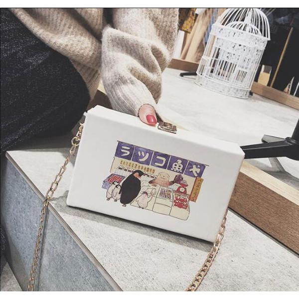 Brand Ins Evening Bag Chain Clutch PU Handbag Cartoon Leather Banquet Purse Elegant Wedding Korea Fashion Character - LX1
