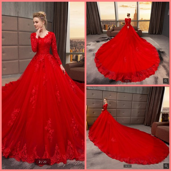 2019 real picture ball gown lace appliques long sleeve wedding gowns v neckline hollow back corset beaded bride gowns best selling 2019