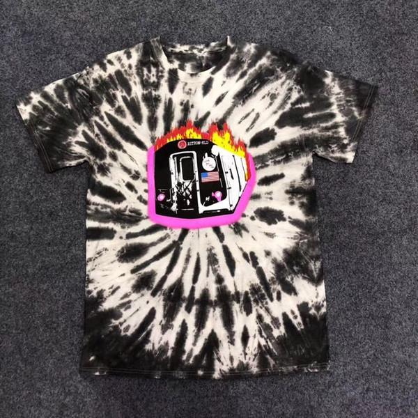 Mode-Neues Travis Scott Astroworld Sicko T-Stück Brennender Zug T-Shirt USA Hip Hop Männer Frauen Beste Qualität Krawattenfärben Oansatz Modet-shirt