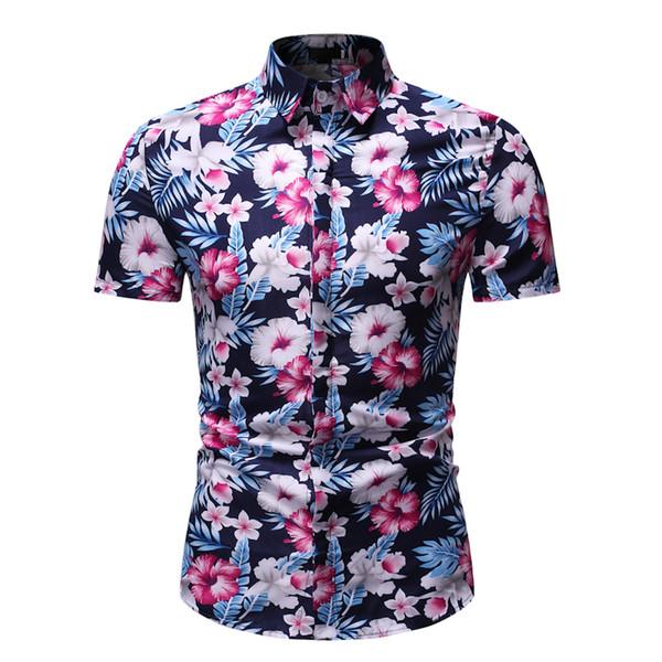 Camisa de Manga curta Ocasional Verão Slim Fit Camisas Dos Homens de Impressão Tropical Camisa Streetwear Roupas de Moda 2019 Grandes Tamanhos