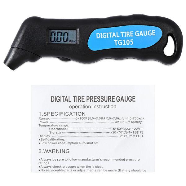 Auto roda da motocicleta Car TG105 Tire Pressure Gauge Medidor manômetro Barómetro Tester Digital LCD pneu Air Para