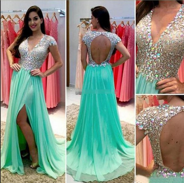2019 Hot Sale Sexy Light Green Crystal Beaded Prom Dresses Long Chiffon Deep V Neck Cut Out Back High Thigh Split Party Gowns