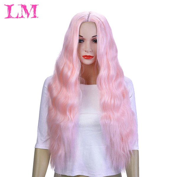 LiangMo Synthetic wig long pink purple orange green white wig black female wave hair Peruca flower female copper color