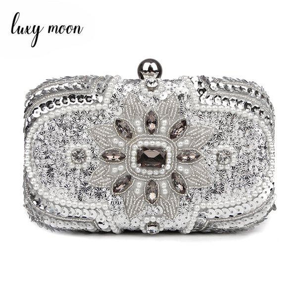 New Glitter Women Beaded Clutch Silver Evening Bags With Chains Handbag Wedding Dress Bag Party Purse Banquet Package W611MX190824