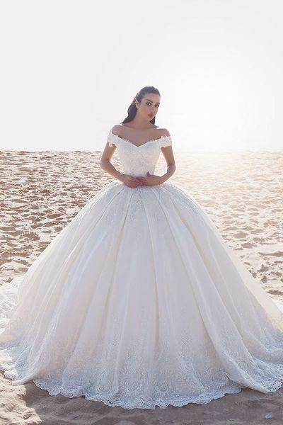 2019 Recién llegado Vestidos de boda con bata de fiesta Fuera de la tapa del hombro Mangas Apliques de encaje Tren de barrido Tallas grandes Vestidos de novia para vestidos formales