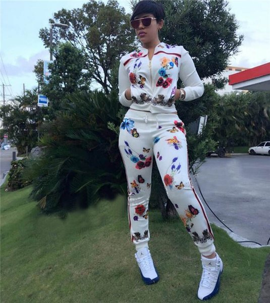 Print Flowers Women Designer Tracksuit White Crew Neck 2pcs Suits Clothing Fashion Long Sleeve With Zipper Tracksuits