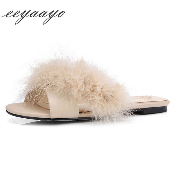 2019 New  Summer Women Slippers Flat Heel Ostrich Fur Mules Sexy Ladies Women Shoes Apricot Outside Slides