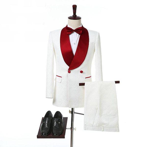 Ternos de homens de marfim com xaile vermelho Collar Double Breasted 2 peças ternos terno de casamento para o noivo Side Vent barato noite baile de finalistas de smoking Novo
