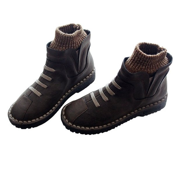 2018 autumn and winter new wool round head warm waterproof flat soft bottom art retro short boots and ankle boots women's shoes