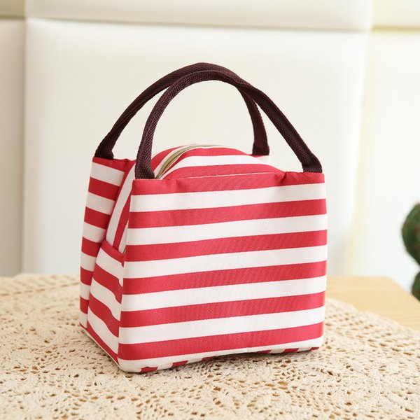 Colorful Strip Lunch Bags Multi-function picnic Isothermic Bags Ice Packs lunch boxes storage bag 6 styles OEM Free shipping