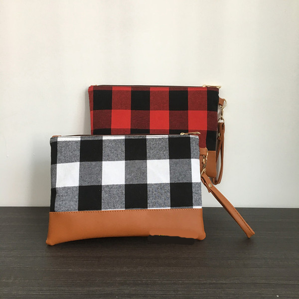 top popular new arrival Christmas women buffalo plaid clutch with brown PU bottom cosmetic bag wristlet bag Composit Purse Travel Tote 2021