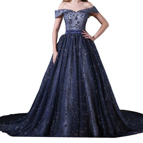 Twinkling Stars Navy Blue Prom Dress Sweetheart Cap Sleeve Elegant Plus Size Fat Girl Prom Dress Ball Gown Light Up Prom Dress AM013