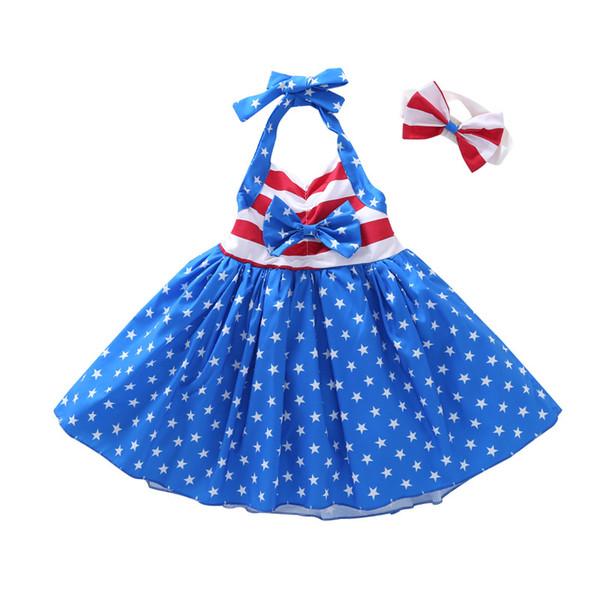 Girls Star Striped Dress Verano Niños bandera americana Día de la Independencia Sling Backless Princesa Dress Kids Headband Ropa