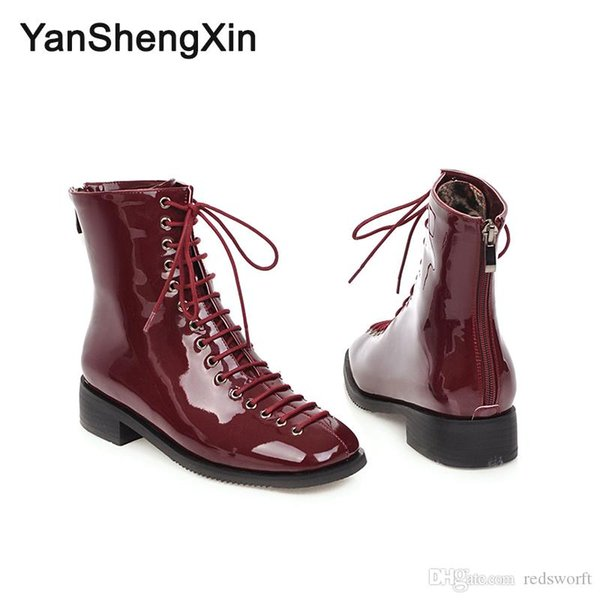 Wholesale Shoes Woman Boots 15 Eye Patent Leather Martin Ankle Boots Low Heels Women Shoes Autumn Winter Boots Large Size Ladies Booties