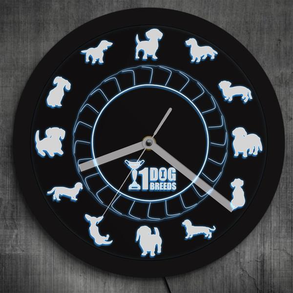 Şampiyonu Köpek Irk Dachshund Duvar Saati Dachs Sosis Köpek Vintage Saat LED Aydınlatma Ile Renk Değişimi Neon Burcu Lover Hediye