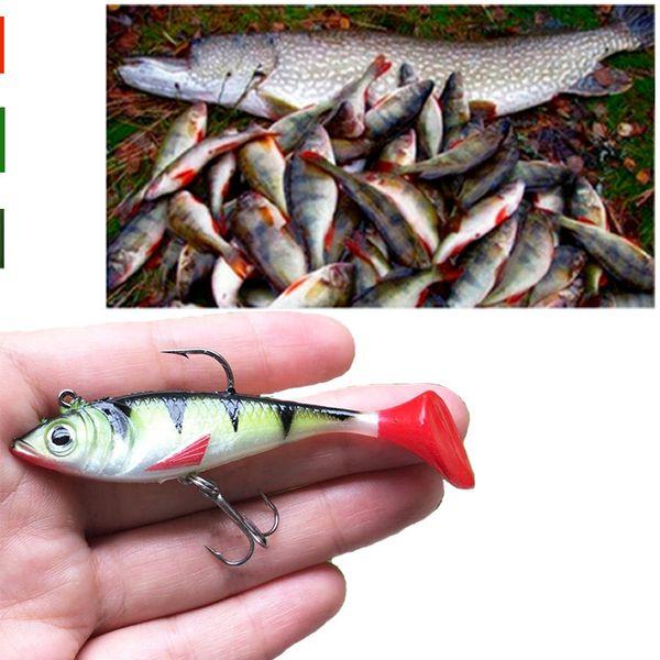 20 stücke1 stücke Weiche Blei Fisch 8 cm / 10,5g T Form Schwanz Köder Mit 2 Haken Fliegenfischen Köder C19041201