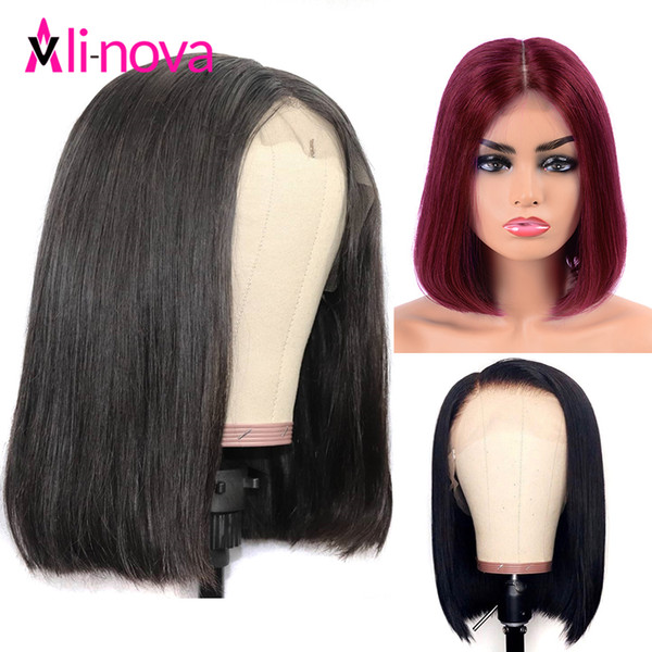 99j Short 13x4 Bob Wig Straight Brazilian Lace Front Human Hair Wigs For Women Alinova Lace Frontal Wig Natural Color #2 #4 #30 Y190713