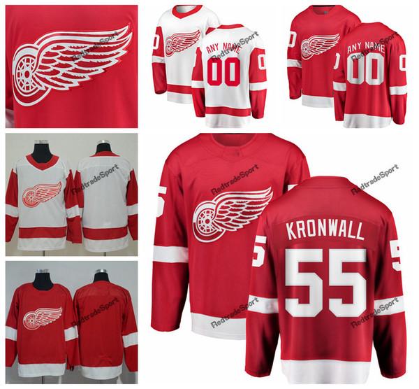 2019 Detroit Red Asas Niklas Kronwall Hóquei Jerseys Mens Nome Personalizado Casa Red # 55 Niklas Kronwall Costurado Camisas de Hóquei S-XXXL