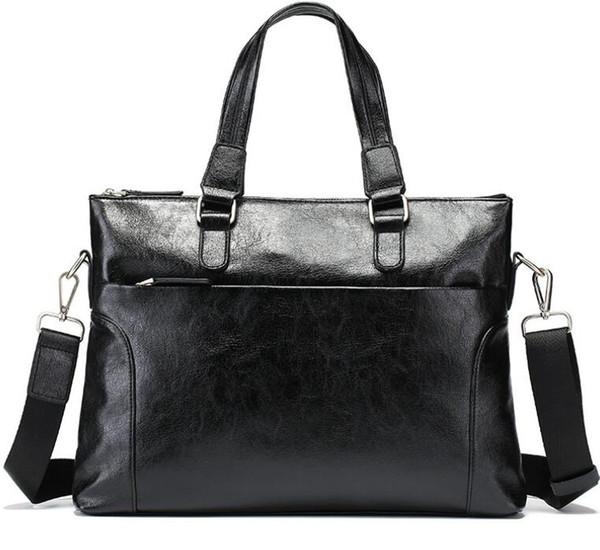 2019 PU Computer one-shoulder slung document Korean version of the business leather handbag