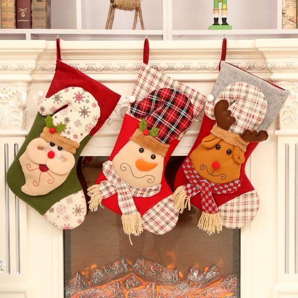 Hot Christmas Decorations Christmas Candy Bag Babbo Natale Pupazzo di neve Calzini di Natale Socks Gift Bag Commercio estero