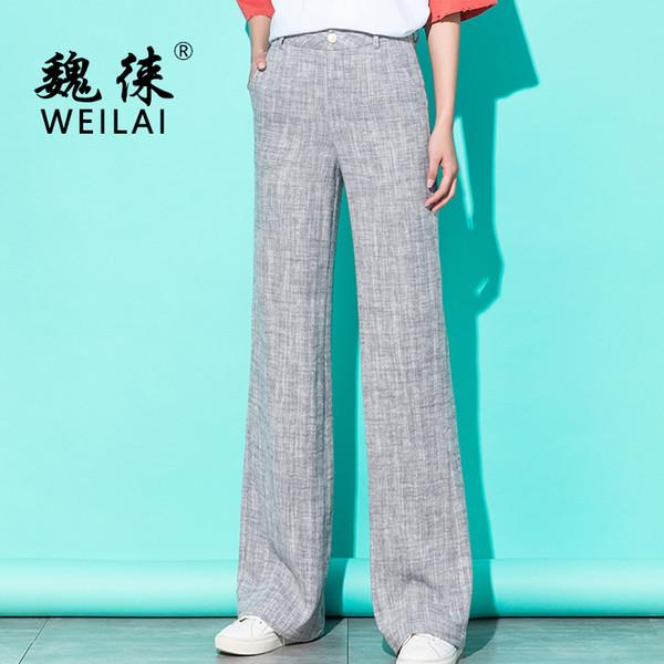 Women Linen Wide Leg Pants 2019 Spring High Waist Kintted Striped Gray Pants Palazzo Streetwear Korean Plus Size 5xl Trousers Y19071701