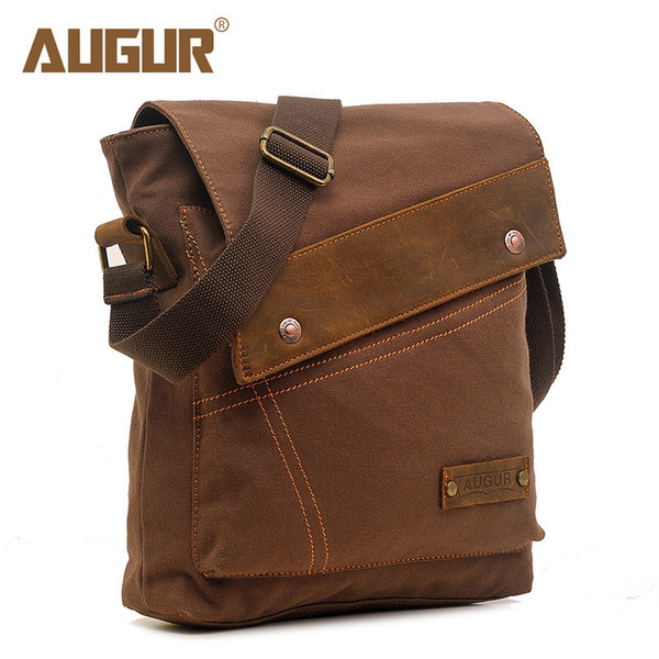 Augur 2018 Canvas Crossbody Bag Men Military Army Vintage Messenger Bags Large Shoulder Bag Casual Travel Bags Y19061903