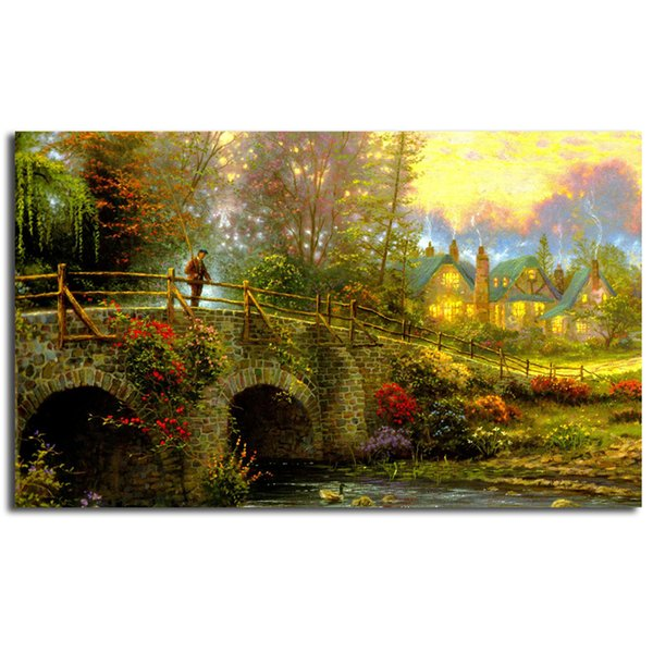 Cobblestone Evening By Thomas Kinkade Poster Canvas Painting Oil Framed Wall Art Print Pictures For Bedroom Modern Home Decoracion Framework