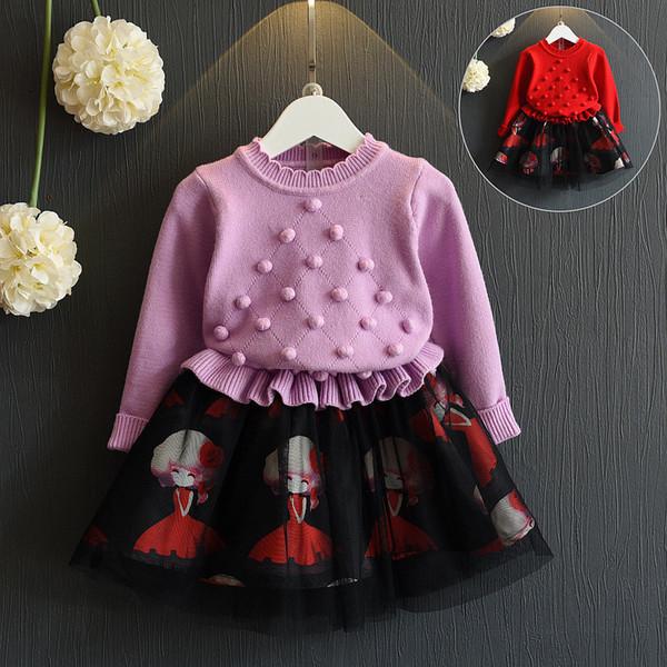 Bebés boutiques ropa tejer suéter tops partido faldas de malla niños vestidos niños diseño trajes 2019 nuevo