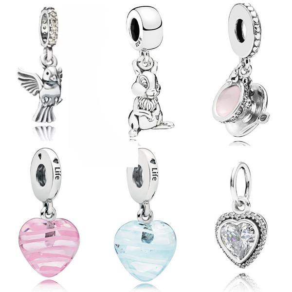 NEW 100% 925 Silver Pandora Jewelry Shiny Love Pendant Charming Cup Shake Blue Ribbon 791394CCZ 791504EN09 796342 797064EN160 797069 797142