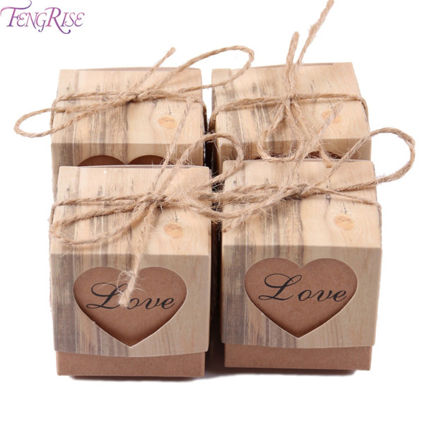 Großhandel 100 stücke Liebe Herz Pralinenschachtel Rustikale Hochzeitsgeschenke Kraft Verpackung Box Mit Sackleinen Jute Band Hochzeit Dekoration