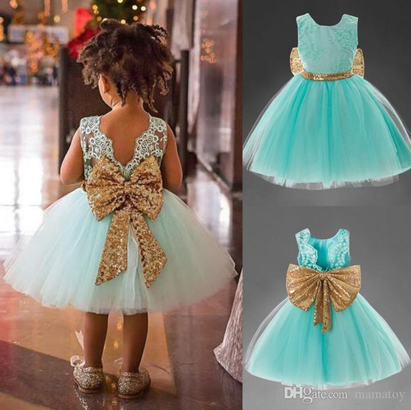 2018 Girls summer sequins big bow sleeveless princess dress kids embroidery lace tutu dress baby birthday party clothes 4 colors for 1-5T