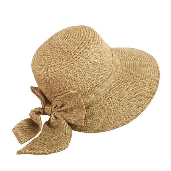2018 Women's Sun Hat Big Bow Wide Brim Floppy Summer Hats For Women Beach Panama Straw Bucket Hat Sun Protection Visor Femme Cap D19011106