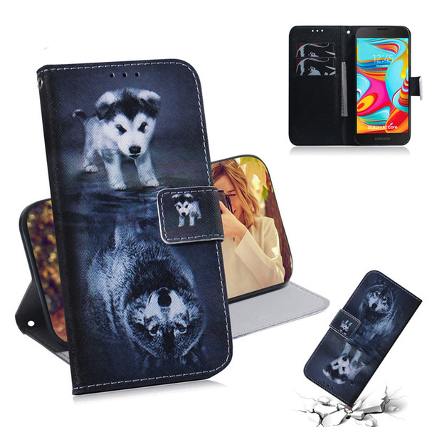 Wallet Case For Samsung Galaxy A2 Core Filp Cover Hot selling Coloured pattern Wolf tiger lion Owl Dog With Card Slot Design