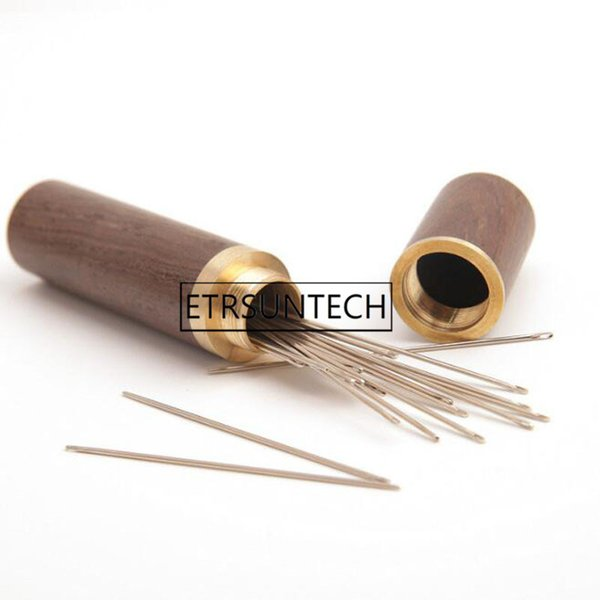 100pcs Hand Sewing Needles Embroidery Mending Housing Case Durable Practical Wood Box Leather Knitting Craft DIY Tools